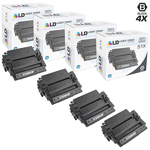LD Compatible Toner Cartridge Replacement for HP 51X Q7551X High Yield (Black, 4-Pack) (Toner For Hp Laserjet P3005)