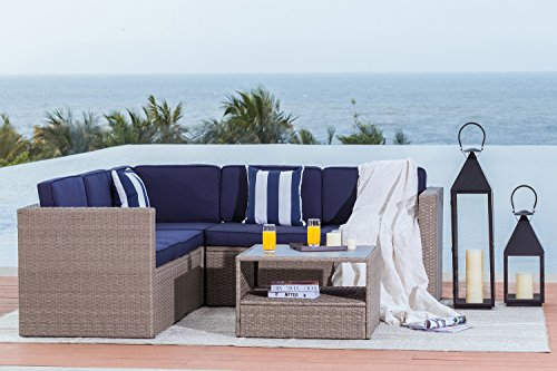 Solaura Outdoor 4-Piece Sofa Sectional Set All Weather Warm Grey Wicker with Nautical Navy Blue Waterproof Cushions & Sophisticated Glass Coffee Table | Patio, Backyard, (All Weather Wicker Sectional)