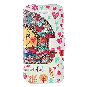 Fashion Life is Beautiful Painting Leather Case with Holder & Card Slots for iPhone 5C