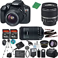 Canon T6 Camera with 18-55mm IS + 55-250mm STM Lens + 2pcs 16GB Memory + Case + Memory Card Reader + Tripod + ZeeTech Starter Set + Wide Angle + Telephoto + Flash + Filter