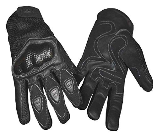(Redline Men's Vented Sports Full-Finger Gloves w/Hard Kevlar, Black G-068 (XL) )