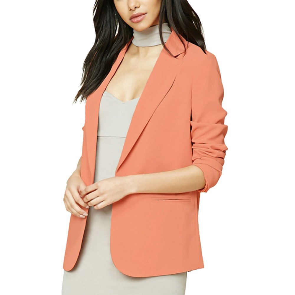 Lrud Women's Work Jacket Long Sleeve Solid Open Front Casual Office Blazer Suits Peach Red XL
