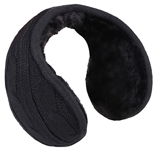 Men's Knit Earmuffs Earwarmer Fur Lined Winter Outdoor Ear Muffs, Black by Livingston