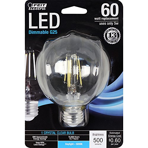 Feit Electric - Decorative Clear Glass Filament LED Dimmable 60W Equivalent Daylight (5000K) G25 Globe Light Bulb (BPG2560/850/LED)