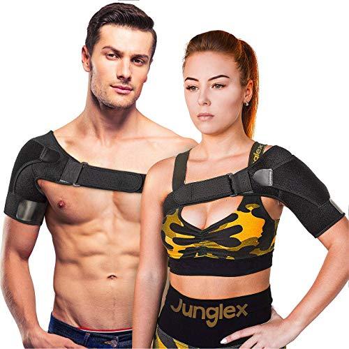 - Junglex Shoulder Support Brace for Women and Men - 100% Adjustable Shoulder Sling for Torn Rotator Cuff, Stability and Compression Sleeve - Immobilizer Strap