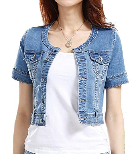 - Fundu Women's Blue Sweet Summer Cool Denim Crew-Neck Short Sleeve Top Jacket US 12