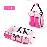 ZhiCheng Folding Crib Bag Portable Multi-Function Large-Capacity Mummy Bag Out of The Portable Travel Bed (Pink)
