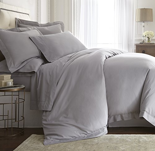 E.Elana Darcy 3pcs Duvet Cover Set Tencel/Cotton Hemstitch Design Gray | Size: King/Cal-King