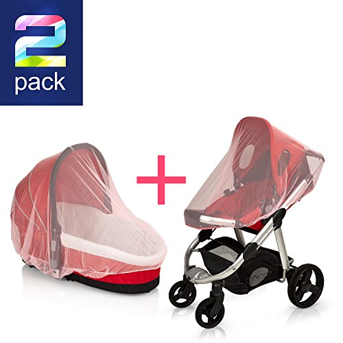SUPER LIGHT WEIGHT (Pink) Baby Mosquito Net for Strollers, Carriers, Car Seats cover ,Cradles.beds. Fits Most PacknPlays, Cribs, Bassinets & Playpens ,Portable & Durable ,Insect Netting