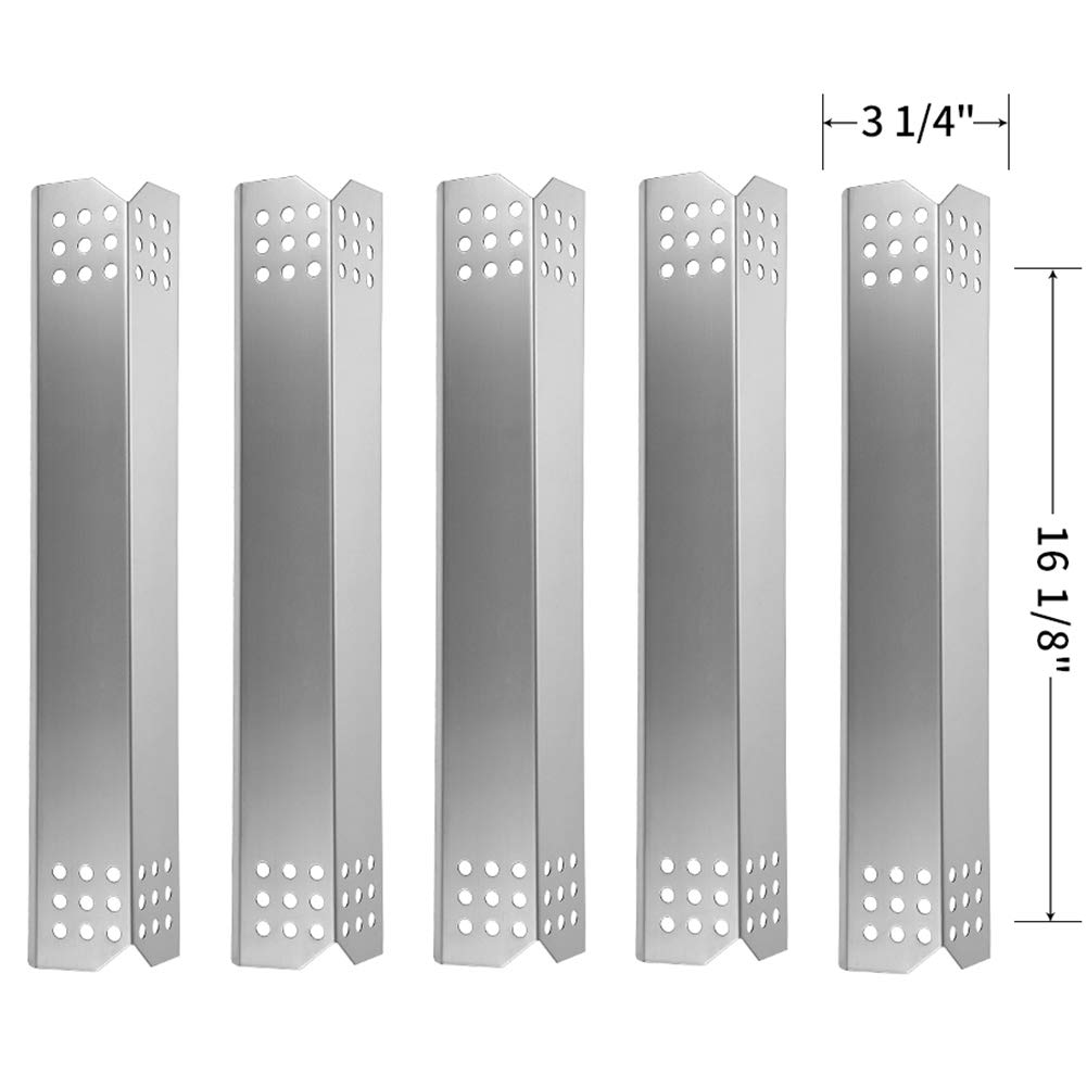 SHINESTAR Grill Replacement Part for Kitchen Aid 720-0745B, Nexgrill 720-0733, Jenn-Air 720-0709 and Others, 5-pack 16-1/8 inch Stainless Steel Heat Tent Shield Plate Burner Cover Flame Tamer-SS-HP018