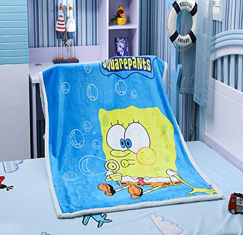 FairyShe Kids Fleece Throw Blanket Baby Cartoon Plush Blanket Soft Warm Coral Velvet Fuzzy Blanket for Crib Bed Couch Chair Living Room(Spongebob2)