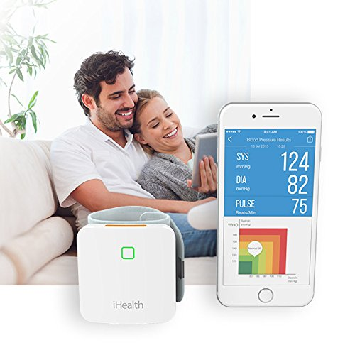 """iHealth Sense Fully Automatic Wrist Smart Blood Pressure Cuff Monitor for iOS and Android, 5.3"""" - 8.7"""" Cuff Size, Rechargeable Battery Built-in"""