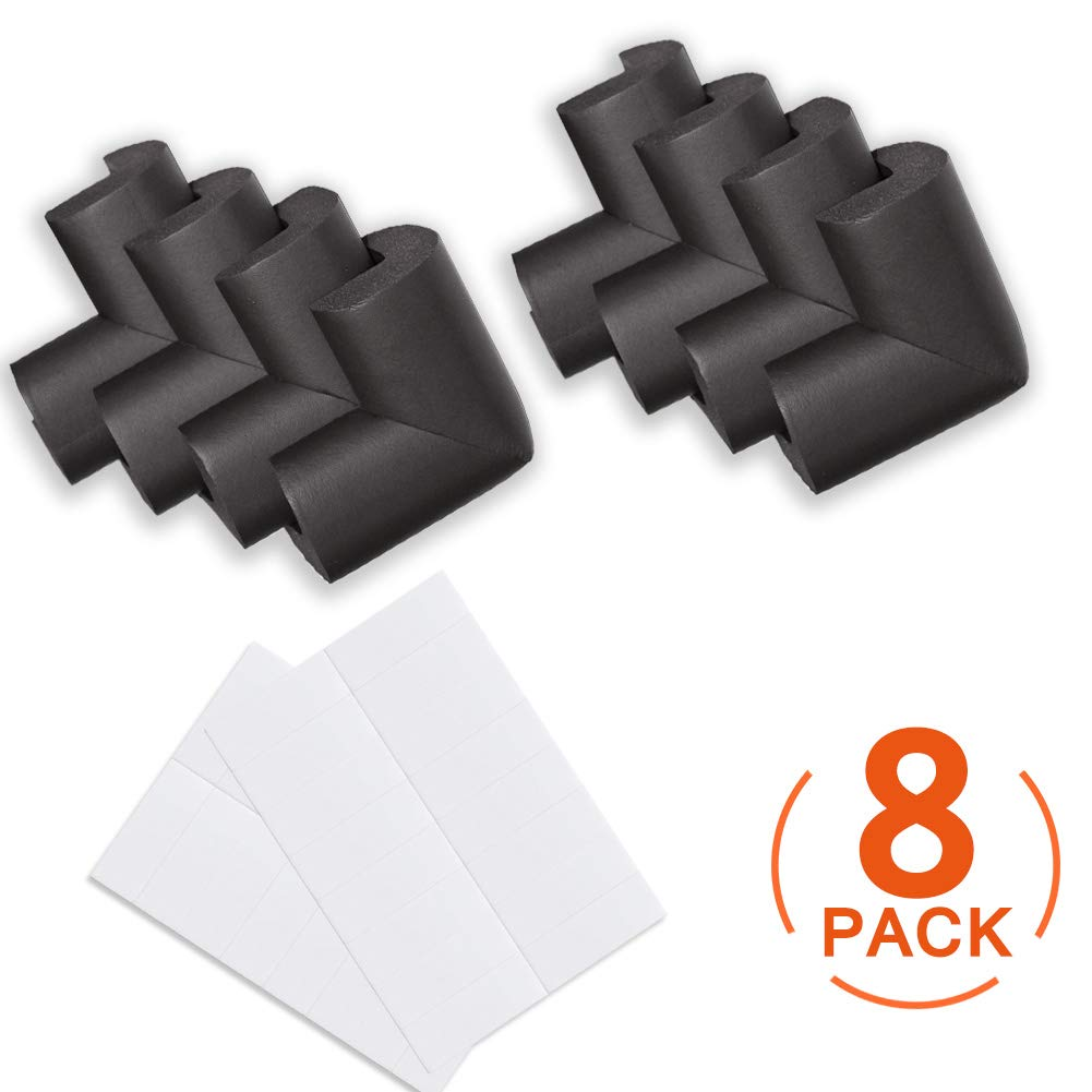 Canwn Soft Foam Baby Proofing Corner Guards Right Angle No Smell Table Corner Protectors for Baby and Kids Black Child Safety Corner Protectors 8 Pack
