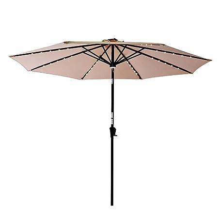 C-Hopetree 10ft Round Rechargeable LED Light Outside Patio Umbrella Crank Winder Push Button Tilt Beige