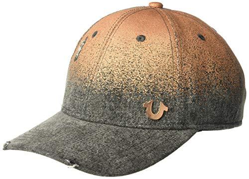 True Religion Men's Metallic Denim Baseball Cap, Black, OSFA