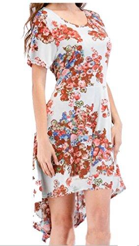 Crewneck Short Printing Jaycargogo Sleeve Women's Stylish Low 9 Dress High w5Xr0qBX