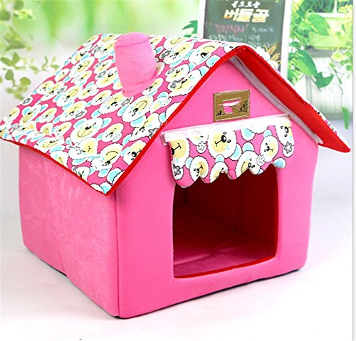 UMALL Cuddly Cave for Small Dogs House Indoor House Bed for Puppy Beds Foam Padding Soft Mats (M=404049cm, Pink)