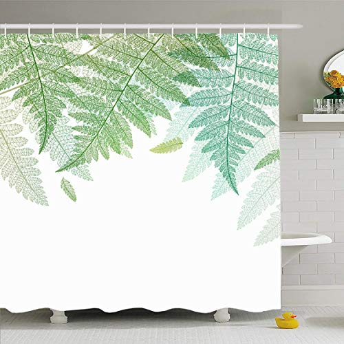 Ahawoso Shower Curtain 60x72 Inches Leaf Pattern Fern Leaves Green Botanical Border Nature Botany Vegetation Boho Floral Design Waterproof Polyester Fabric Bathroom Curtains Set with - Border Leaves Fern