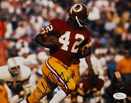 (Charley Taylor Autographed 8x10 Running With Ball Photo With Hall of Fame And JSA W Auth)
