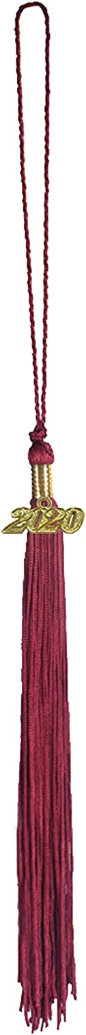 "Coming with an Extra 2021 Year Charm CHGD Graduation Tassel 9/"" with A 2020 Year Charm Date Single Color"