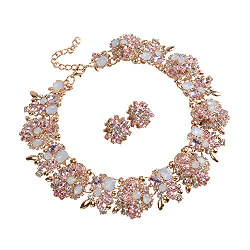 Holylove Light Pink Retro Style Statement Necklace Bracelet Earrings for Women Novelty Jewelry Set 1 with Gift Box-8041 Light Pink