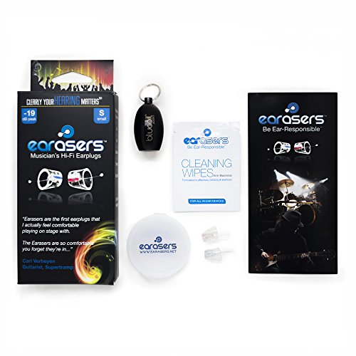 (Earasers High Fidelity Musician's Ear Plugs - INCLUDES - Blucoil Limited Edition BLACK Carrying Case (Small))