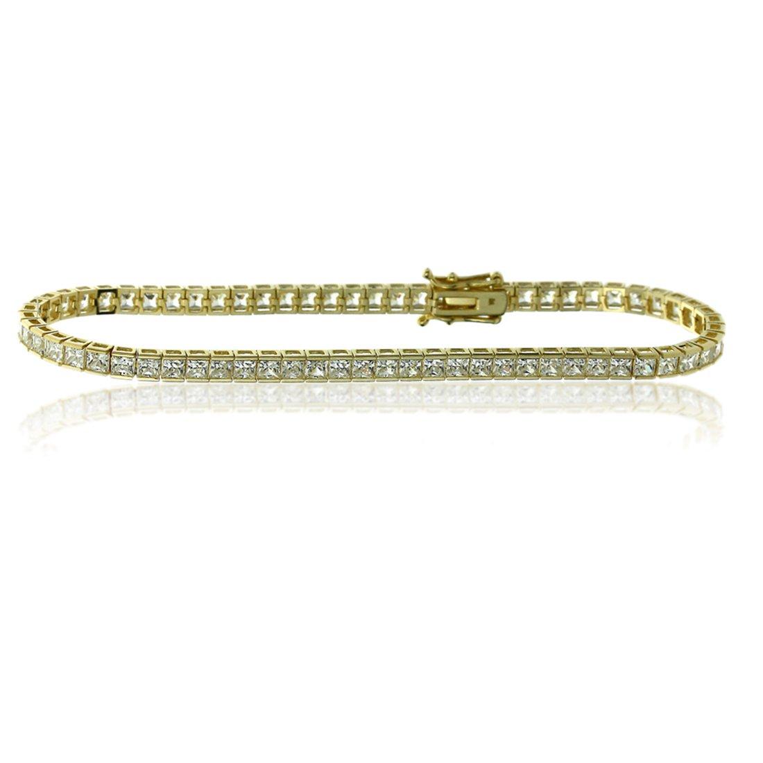 Women's 14K Yellow Gold 2mm 4.9 cttw Princess CZ Channel Set Tennis Bracelet