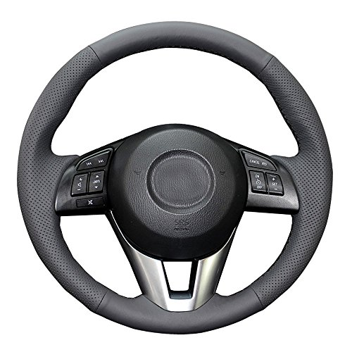 Eiseng DIY Genuine Leather Steering Wheel Cover Custom Fit for Mazda 6 2014 2015 2016 / Mazda 3 2014-2016 / CX-3 2016 2017 / CX-5 2013-2016 15 inches Stitch Interior Accessories (Black Thread)