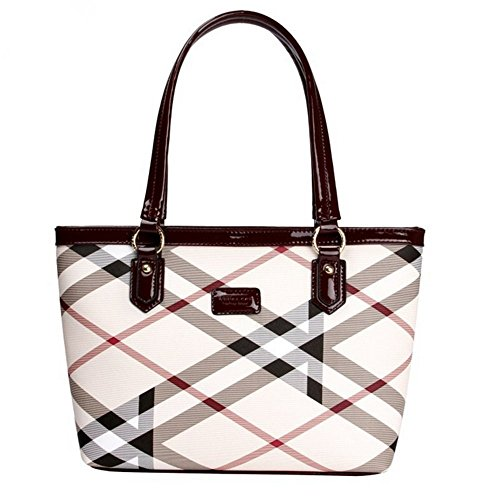 Lady Womens Designer Stylish Grid Top-Handle Handbag Leather Check Shopping Tote Shoulder Bag by H.Tavel