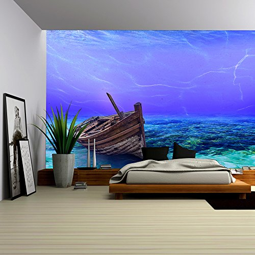 Underwater Wreck Background in the Sea