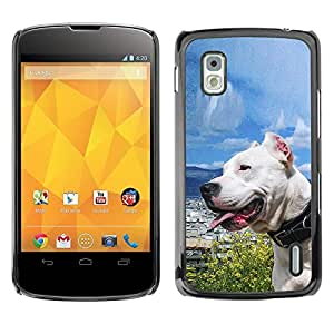 [Neutron-Star] Snap-on Series Teléfono Carcasa Funda Case Caso para LG Nexus 4 E960 [Soleado Sea Dog Océano Pit-Bull Terrier mascotas]
