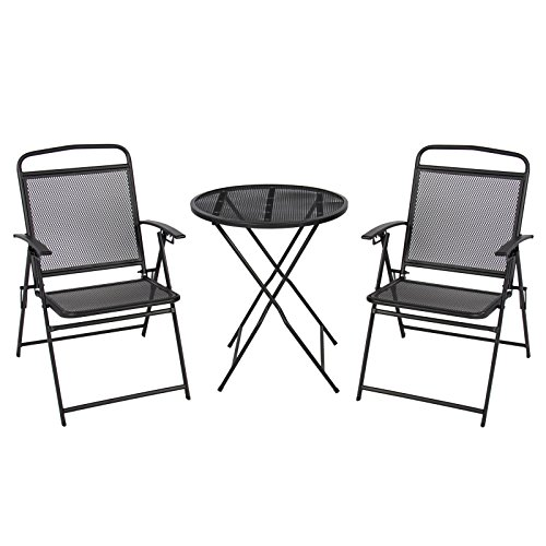 3 pc Patio Bistro Set Outdoor Table and Chairs Wrough Iron With Black Finish by P.