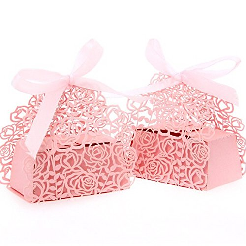 WOMHOPE 50 Pcs - Roses Flowers Wedding Candy Box Chocolate Candy Holders Bomboniere Party Favors - Shimmering Laser Cut with Ribbons for Bridal Shower,Wedding,Party,Birthday Gift (Pink)