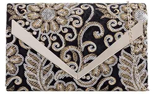 Black Flowers Flowers Black HandBags Clutch Girly Clutch HandBags Bag Bag Sequins Sequins Girly qwqHX47B