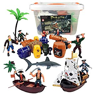 Liberty Imports Bucket of Pirate Action Figures Playset with Boat, Treasure Chest, Cannons, Shark, Pirate Ship, and More!