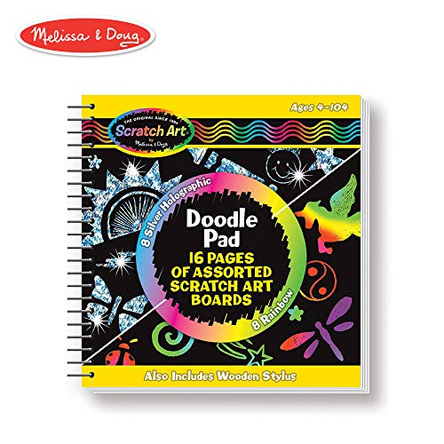 Melissa & Doug Scratch Art Doodle Pad Book (Arts & Crafts, Mini Stylus Included, 16 Spiral-Bound Pages)