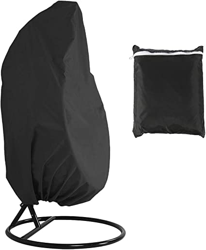 190CM BLACK Swing hammock Dust Cover Protector with Zipper Storage Bag 115 Waterproof Outdoor Garden Cocoon Egg Chair Cover Powstro Hanging Egg Chair Cover