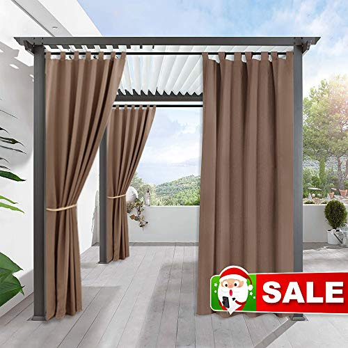 RYB HOME Outdoor Curtains for Porch - Blackout Exterior Shades for Front Gazebo Stain Proof Thermal Insulated Panel for Garden with Tab Top, 1 Panel, Width 52 by Length 84 inch, Mocha