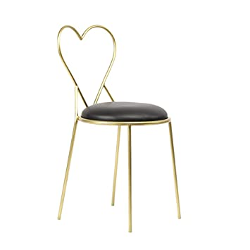 Decorative Stool Iron Art Armchair, Creativity PU Dressing Chair Heart  Shaped Cosmetic Stool Leisure Stool