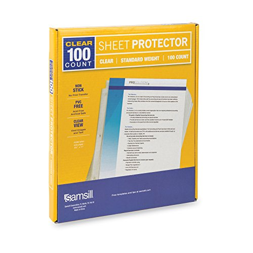 Archival Plastic Box - Samsill 100 Clear Standard Weight Sheet Protectors, Reinforced 3 Hole Design Plastic Page Protectors, Archival Safe, Top Load for 8.5 x 11 Inch Sheets, Box of 100