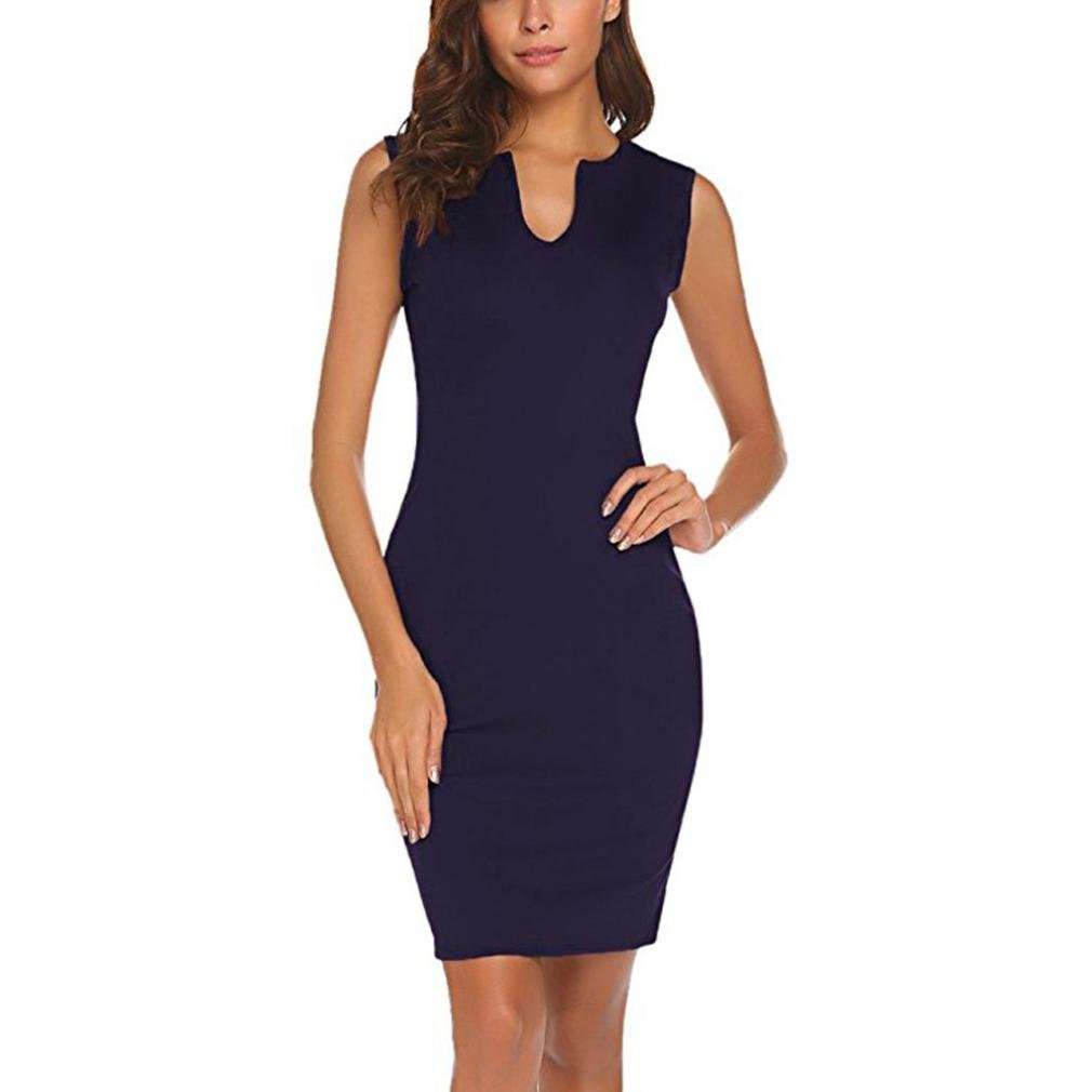 QinMM Damen Wear zu Arbeiten Büro Sleeveless V-Ausschnitt Bodycon Bleistift Kleid Sommer Casual Stilvolle Schwarz Wein Marine S-XL