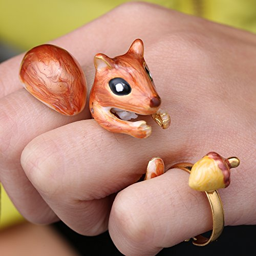 Rinhoo 3Pcs Stack Rings Cute Squirrel Rabbit Animal Open Knuckle Joint Nail Stack Ring Set Hand Painted Enamel Women Girls Jewelry