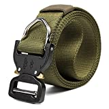 Yingte Tactical Belt,124x3.8cm Multifunction Waistband Buckle Adjustable Braided Belts with Hook,Green