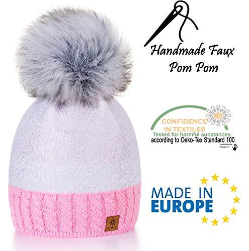 Beanies Pompom Winter y Bonnet Color One al por Silver Pique Size Circle Lady mujer White 4sold Pink para punto mayor de CO5qngtzwx