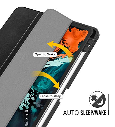 """MoKo Case Fit iPad Pro 11"""" 2018 with Pencil Holder - Support Magnetically Attach Charging/Pairing Function - Slim Lightweight Smart Shell Stand Cover Case with Auto Wake/Sleep - Black"""