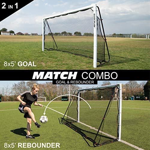 QuickPlay 2in1 Soccer Goal + Rebounder | Use as 8x5' Goal from The Front OR a Soccer Rebounder from The Back | The Ideal Team Shooting Target or Backyard Soccer Trainer - 2YR Warranty (Best Football Team Goals)
