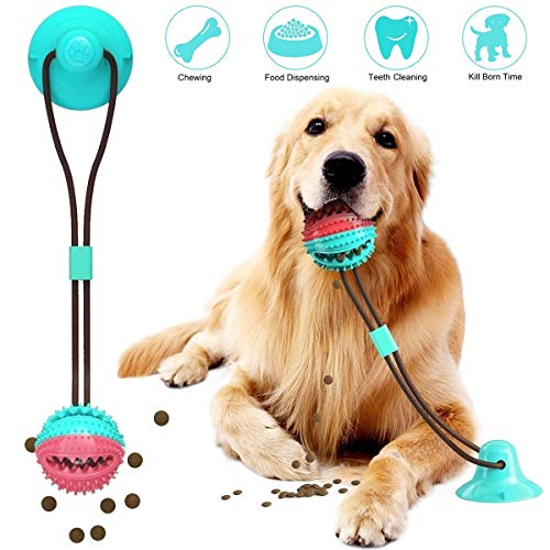 SAMCERY Upgrade Dog Chew Toy Molar Bite Toys, Self-Playing Rubber Ball Toy with Suction Cup Multifuntion Interactive Ropes Tug Toy Pet Teeth Cleaning Tools for Medium Large Dogs Trainning