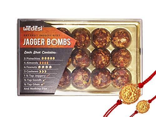 WeDesi Dry Fruit Laddoos | Jagger Bombs | Gluten Free| High in protein and vitamins | No Added Sugar | Rakhi combo (Tray - 15 Servings) (B07H5KXFM7) Amazon Price History, Amazon Price Tracker