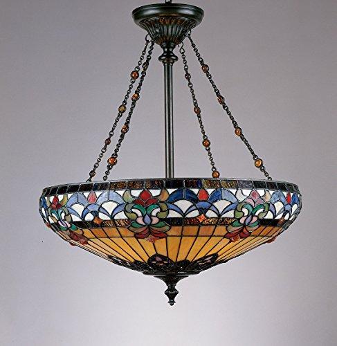 (Quoizel TF1781VB Belle Fleur Tiffany Bowl Pendant Lighting, 4-Light, 400 Watts, Vintage Bronze (27