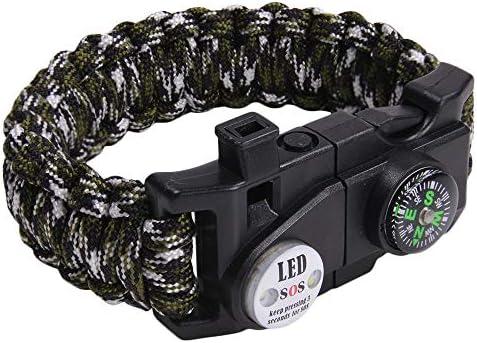 多機能 パラコードブレスレット LEDライト ホイッスル付 OD&ブラック&ホワイトカモ